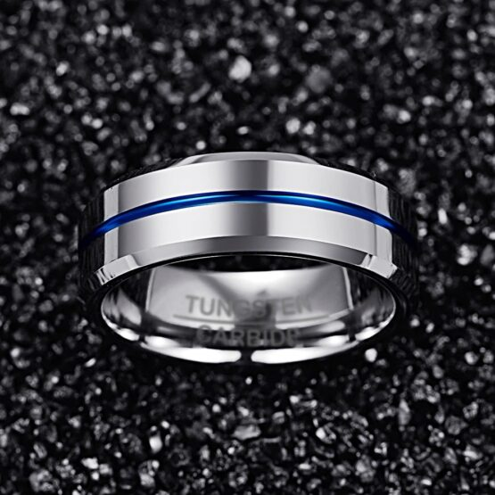 Anneau 8mm en carbure de tungstene aspect titane argent poli avec ligne bleu nuit au milieu