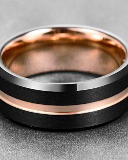 Anneau 8mm en carbure de tungstene couleur or et noir carbone