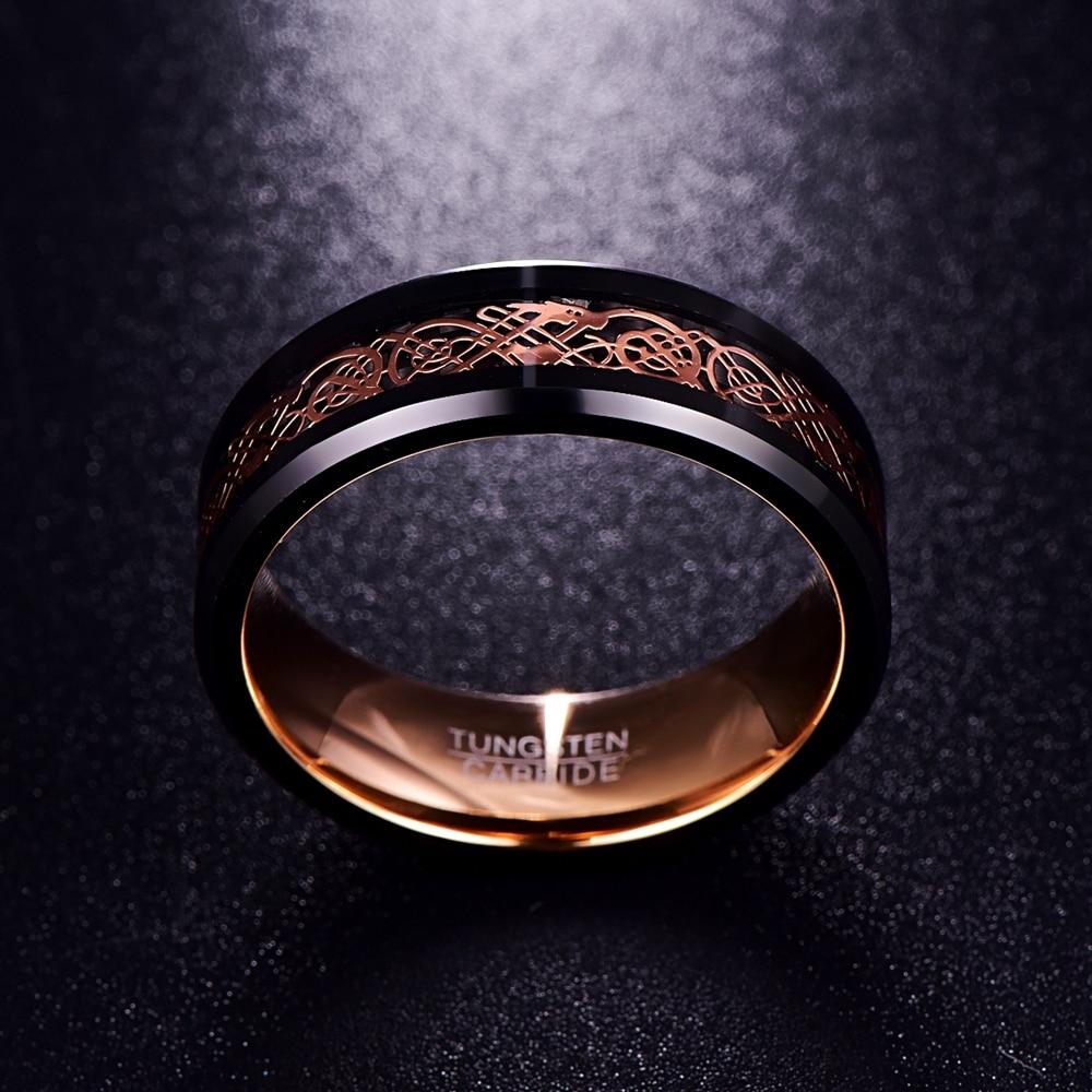 Anneau 8mm noir et or rose en carbure de tungstène avec motif runique celtique