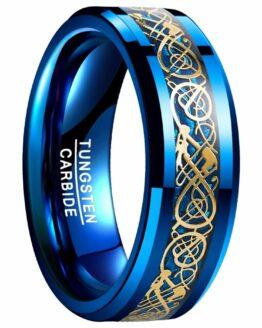 Anneau homme 8mm design tendance en carbure de tunsgtene avec motifs celtiques bleu et or collection azur