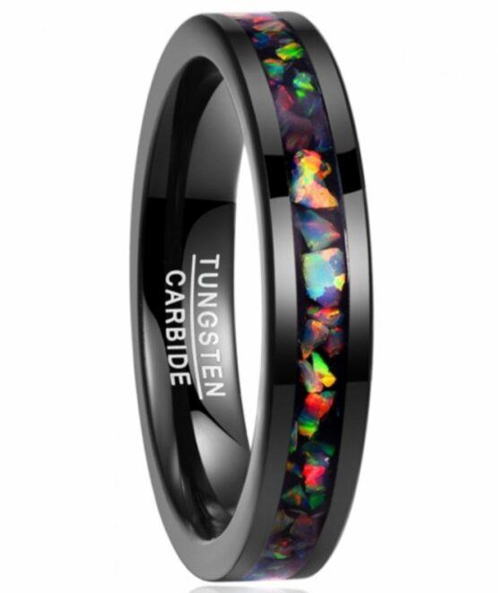 Bijoux anneau noir 4MM en carbure de tungstène avec éclats d'opale colorée à l'intérieur collection carbon