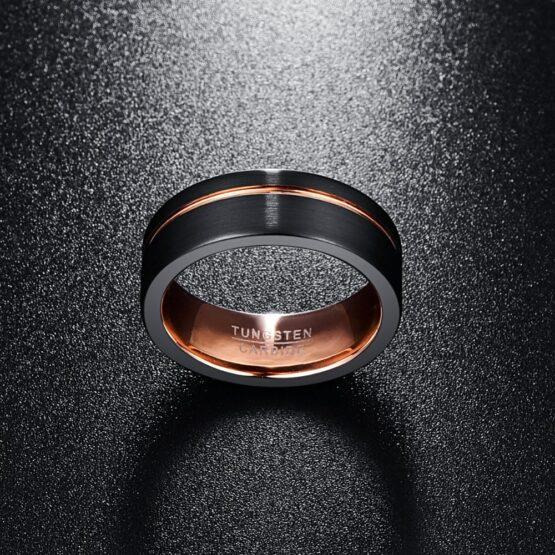 Anneau 8mm en carbure de tungstene noir et or poli couleur carbone