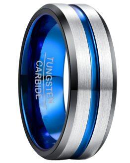 Anneau 8mm couleur argent titane et bleu en carbure de tungstene avec ligne bleu design classique