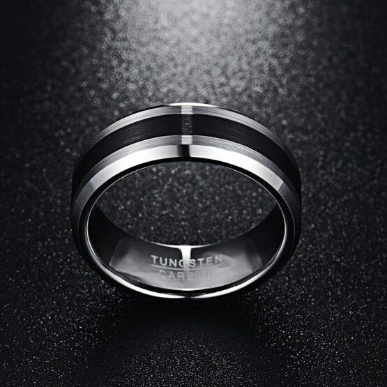 Anneau 6mm couleur titane argent en carbure de tungstene au style arrondi et à la forme épurée