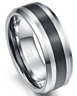 Bague 8mm couleur argent titane en carbure de tungstene avec centre noir carbone