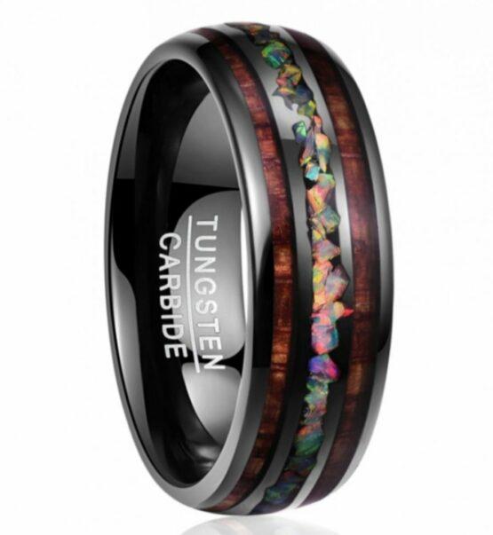 Anneau 8mm en carbure de tungstene couleur carbone opale inscrutée avec design bois couleur marron