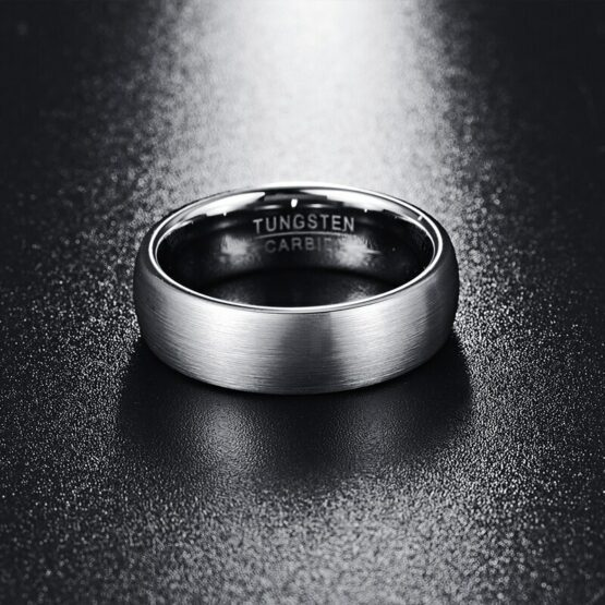 Bijoux anneau 8mm argent titane poli carbure de tungstene brossé design original