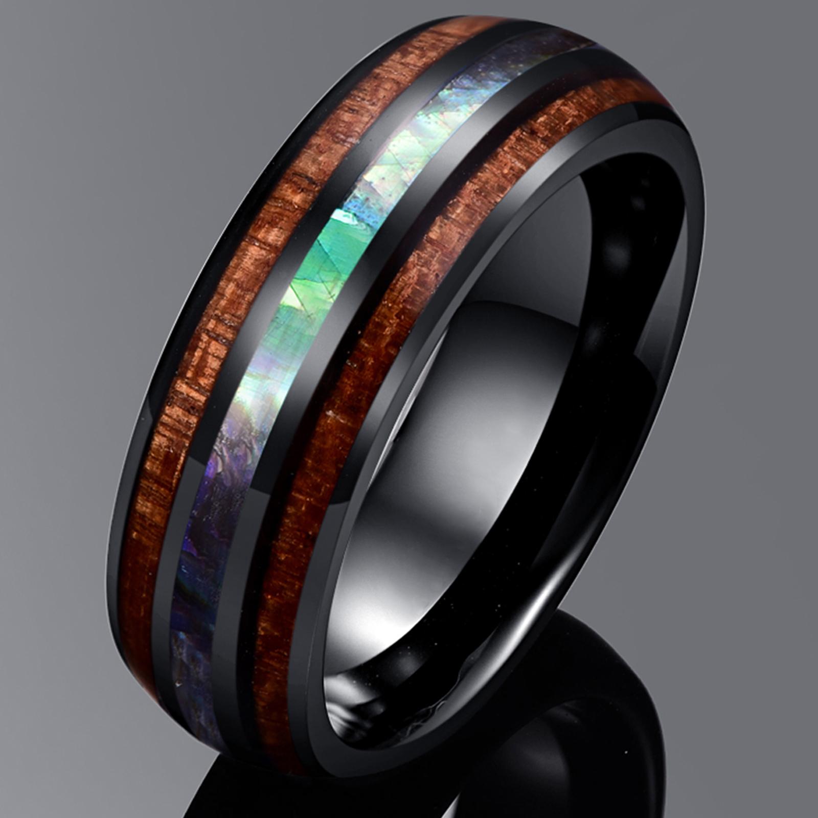 Bijoux anneau bague homme effet carbone en carbure de tungstène style bois et opale incrustée