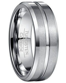 Bijoux anneau bague couleur argent titane en carbure de tungstène effet brossé et poli design original