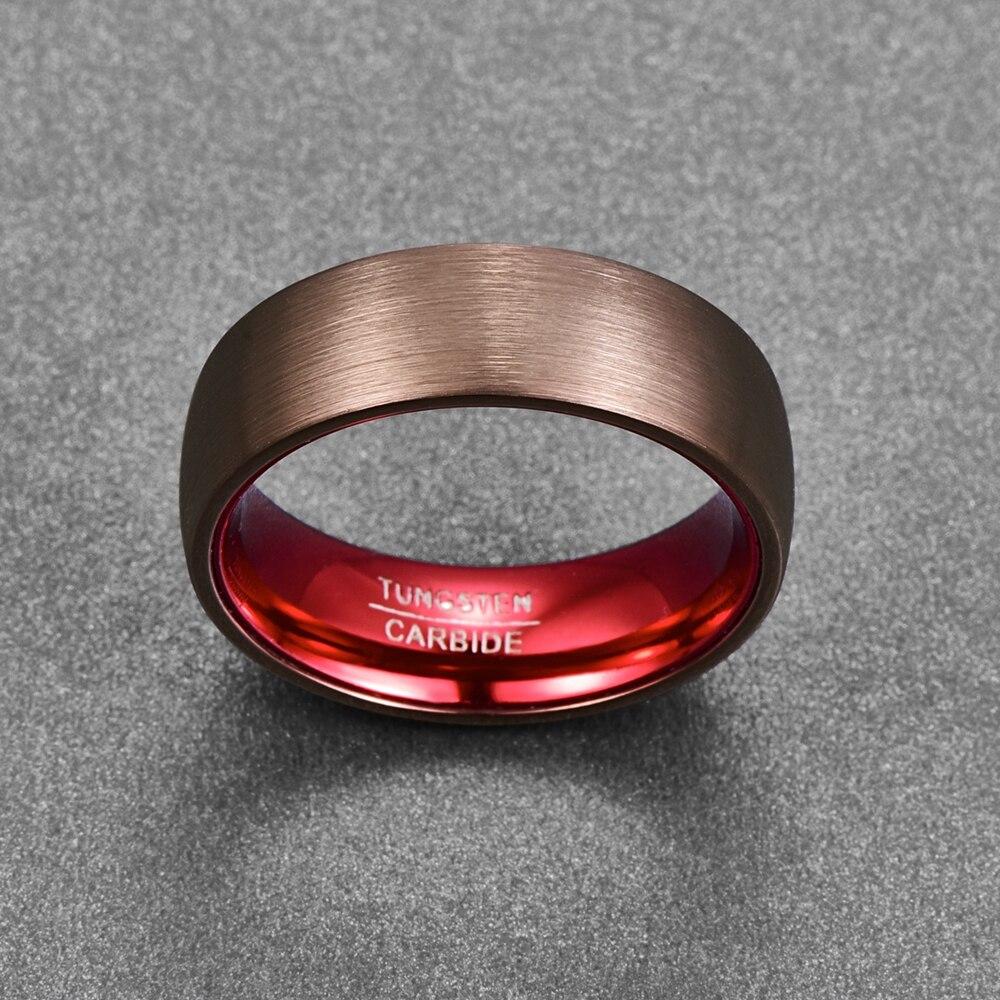 Anneau bague 8mm en carbure de tungstène couleur rouge brillant design aspect titane brossé