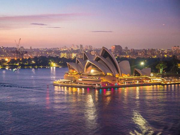 Vue de nuit sur l'Opéra de Sydney