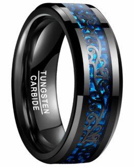 Anneau 8mm en carbure de tungstene couleur noire collection carbon le tenebreux avec gravure motif celtique bleu