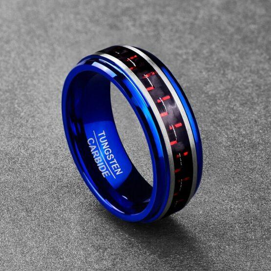 Anneau homme couleur bleu en carbure de tungstene avec fibre de carbone noir et rouge inscruté