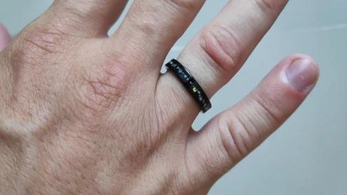 anneau bijoux pas cher urban rings coloré en carbure de tungstène avec pierres opaline couleur incrustée