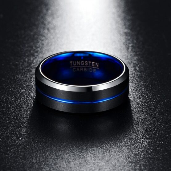 anneau ou bague homme en carbure de tungstène bleu et noir