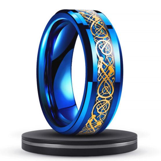 électrique-anneau-homme-8mm-carbure-de-tungstene-bleu-avec-motifs-celtiques-bleu-or