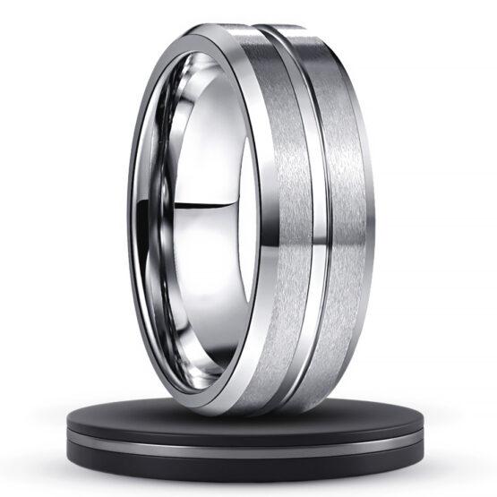 épidote-bijoux-bague-anneau-8mm-titane-argent-carbure-de-tungstene-effet-brosse-et-poli-collection-titanium