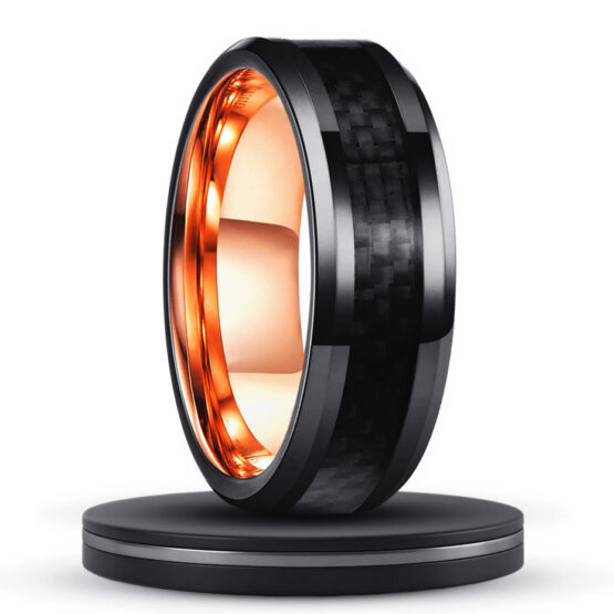 le-grenat-anneau-bague-tendance-homme-carbure-de-tungstene-noir-or-fibre-de-carbone
