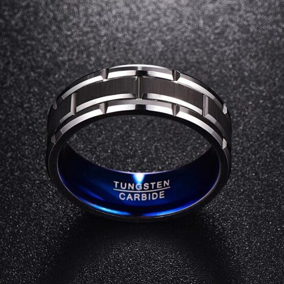 anneau-bague-bijoux-homme-design-bleu-argent-titane-carbure-de-tungstene-marin